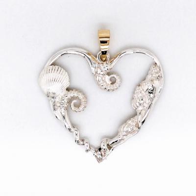 Heart Pendant with Sea Life