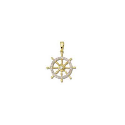 Ships Wheel with Diamonds White Lg Pendant with Bail AP48FYDWB