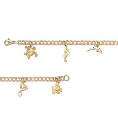 Charm Bracelet with Fish, Dolphin, Turtle, Seahorse, Sting Ray with Lobster Claw  MCB_48-5FYLC