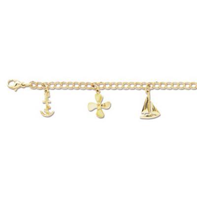 Lighthouse, Anchor, Propeller, Sailboat & Ships Wheel Charm Bracelet  CB51-5YLC