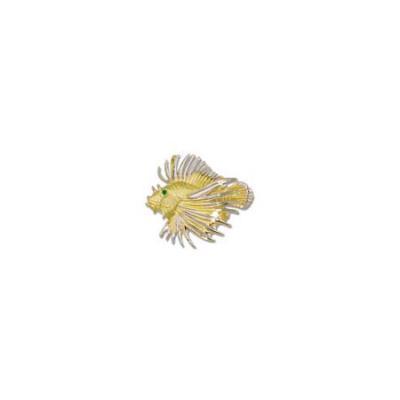 Lionfish Large Pendant with Emerald Eye, Rhodium White and Hidden Bail   MC_444.5YRHWEMEHB