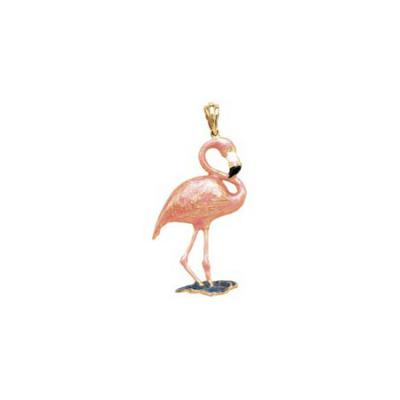 Flamingo Standing with Diamond Eyes, Enamel Lg Pendant 23.5YDWEENB