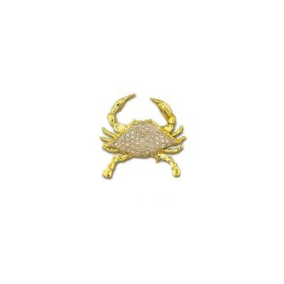 Crab Blue 3D Large Pendant with Diamond White Pave and Hidden Bail  MC_901AFYDWHB