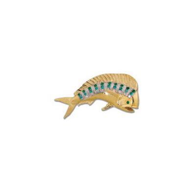 Bull Dolphin (Mahi-mahi) Large Pendant/Brooch with Diamonds White, Paraiba Tourmaline, Emeralds and Hidden Bail  MC_253.5AYRHWDWSPTSEMSEMEHBPP