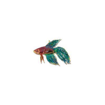 Siamese Fighting Fish Betta Large Pendant with Sapphire Eye, Enamel Work and Hidden Bail   MC_306.5YSAEENHB