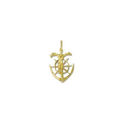 Crucifix on Anchor and Ships Wheel Large Pendant with Shackle Bail  201FYSB