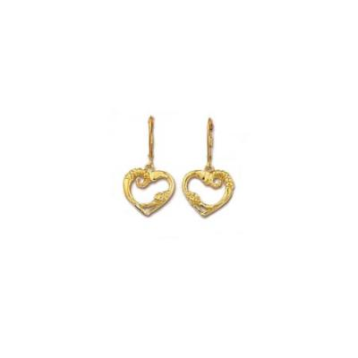 Heart with Wentletrap & Spirula Shells and Lever Back Earring  ME1035C.5YLBD