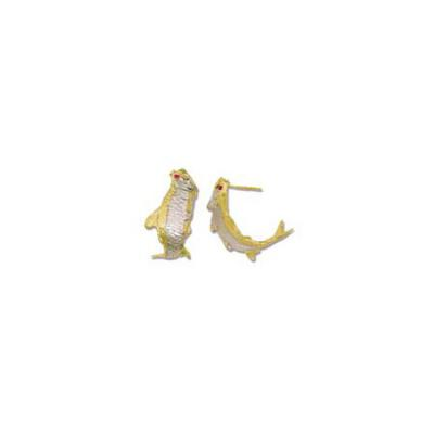 Tarpon with Ruby Eyes and Rhodium Medium Earrings with Posts  E109.5YRHRUEPT