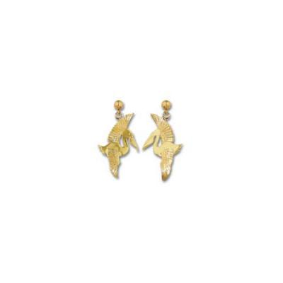 Pelican Flying High Polish Med Earrings with Ball Drops ME 218.5YBD