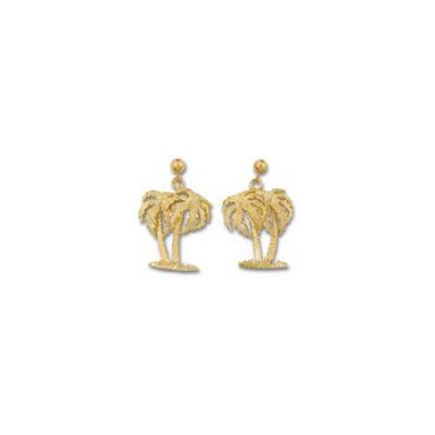 Palm Trees Double Medium Earring with Ball Drops  ME_816.5YBD