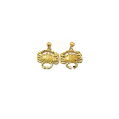 Crab Blue 3D Medium Earrings with Ball Drops  ME__50BFYBD
