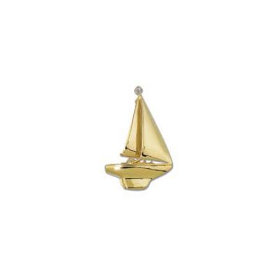 Sail Boat Sloop with Diamond Large Brooch 1FYDWP