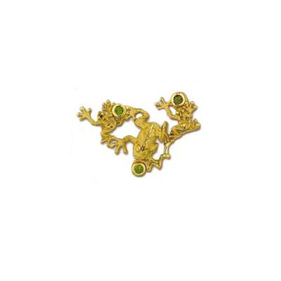 Frogs 3/D with 3 -4mm Peridots Large Slide 49YPE